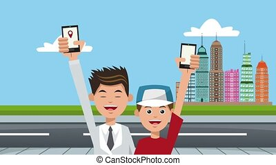 Dad and boy using GPS application HD animation - Dad and boy...