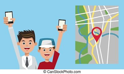 Dad and boy using GPS application HD animation