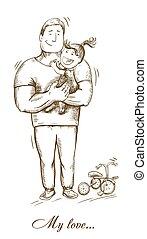 dad and daughter. fatherhood. paternal feelings