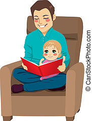 Dad and Daughter Reading - Dad reading a tale to his little...