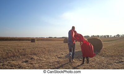 Rear view of father and son in superhero costumes with fist forward running holding hands across wheat field with straw stacks at sunset. Friendly family playing brave superheroes in nature