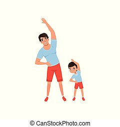 Dad and son doing morning exercises. Family sport. Man and boy dressed in shorts and T-shirts. Having fun together. Fatherhood concept. Flat vector design