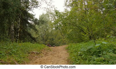 Dad and son go for a drive in the woods on bicycles. Celebrate the victory
