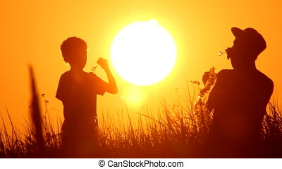 dad and son making soap bubbles in the nature, sunset, silhouette