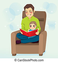 Dad and Son Reading - Dad reading a tale to his little son ...