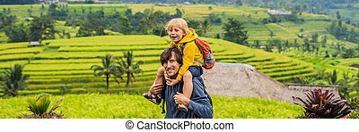 Dad and son travelers on Beautiful Jatiluwih Rice Terraces ...