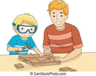 Dad and Son Woodwork - Illustration of a Father and Son...