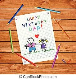 dad., córka, ojciec, urodziny, rysunek, szczęśliwy