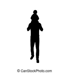 Dad carries a baby on his back, father and kid, isolated vector silhouette