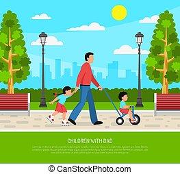 Dad Children Flat Poster