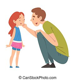 Dad Comforting Her Daughter, Father Caring for Child Squatting in front of Girl, Happy Family Relationship Vector Illustration
