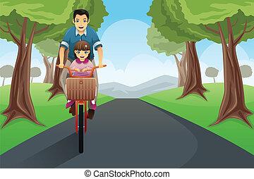 Dad daughter biking together