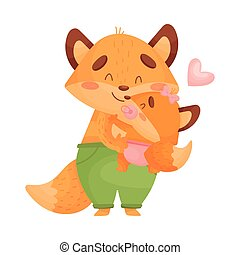 Dad fox holds daughter in his arms. Vector illustration on a white background.
