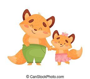 Dad foxes with daughter. Vector illustration on a white background.