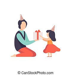 Dad giving gift box decorated with red ribbon bow to his little daughter, kid celebrating birthday vector Illustration on a white background