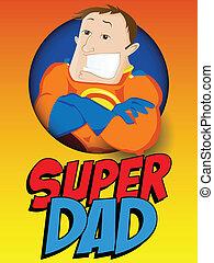 dad., héros, pères, super, jour, heureux
