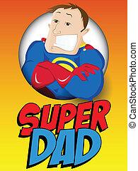 dad., held, vader, vrolijke , fantastisch, dag, man