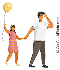 Dad in white T-shirt covers his eyes with hand from strong sun, leads his daughter in striped dress, with balloon, by hand. People strolling on hot summer sunny day. The family spends time together