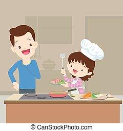 Dad looking Daughter cooking