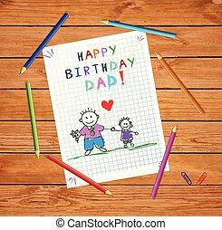 dad., ojciec, syn, urodziny, niemowlę, rysunek, szczęśliwy