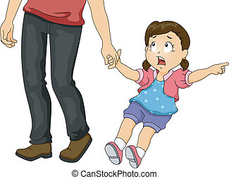 Dad Pulling Girl - Illustration of a Little Girl Pulling Her...