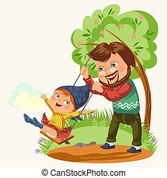 dad rolls his daughter on a swing tied to a tree, fathers day happy child swinging, family summer vacation in park, kids playground activity isolated vector illustration