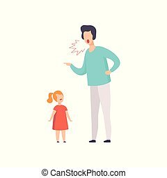 Dad scolding at his daughter, young man yelling at child vector Illustration on a white background