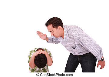 Dad scolding his son, father with son isolated on white
