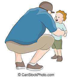 Dad Talking To Child - An image of dad talking to child.