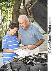 Dad Teaches Son To Check Oil