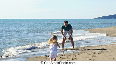 Dad throws daughter up on the beach
