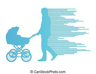 Dad with baby carriage vector