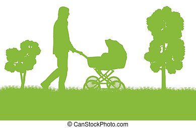 Dad with baby pram vector