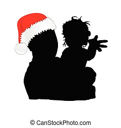 dad with christmas hat and daughter vector