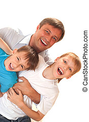 dad with his sons on a white