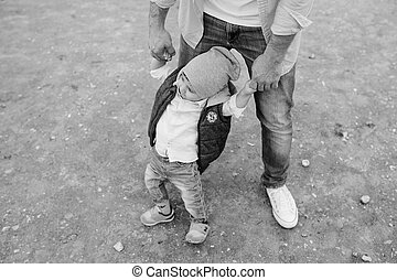 Dad with little son