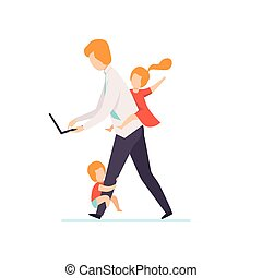 Dad Working on Laptop Computer While Kids Playinh with Him, Freelancer, Parent Working with Children, Business Father Vector Illustration