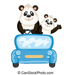 Daddy and baby panda in a blue car