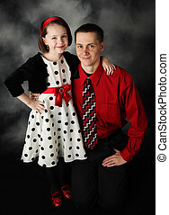 Daddy and daughter dressed up