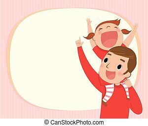 illustration of the girl riding piggy back on her dads shoulders