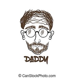daddy face hand draw