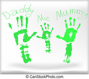daddy me mummy - Vector picture with the image of hands of...