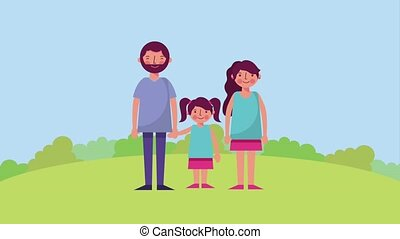 daddy mom and daugther in the park animation hd