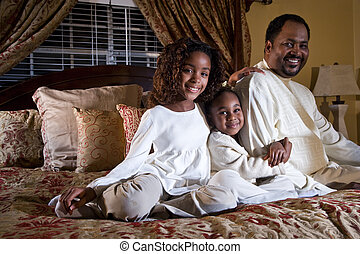 Daddy with his little girls - Father with two little ...