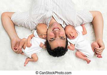 Daddy with twins