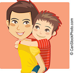 Daddy's Little Boy - Father giving his little boy piggyback...
