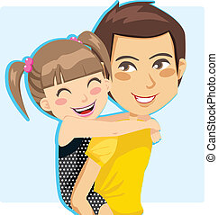 Father giving his little girl piggyback ride smiling