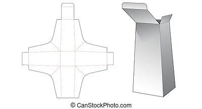 dado, corte, plantilla, caja, obelisco