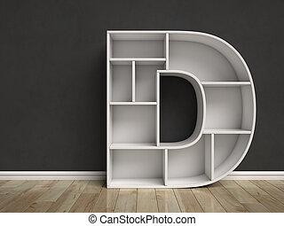 dado forma, d, letra, prateleiras