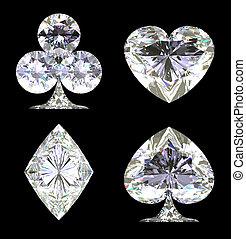 dado forma, diamante, cintilante, cartão, ternos